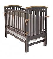 """Дитяче ліжко-колиска """"Міа"""" (Шоколад + натуральне)"""