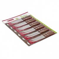 Ножи 12пр. на блистере из нержавеющей стали с деревянными ручками (лезвие 11,5см)