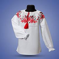 """Праздничная вышиванка с красным орнаментом для девочки """"Калина"""""""