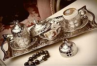 Набор чашек для кофе Серебристый цветок на 2 персоны