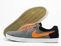 Кеды мужские Nike серые с оранжевым (найк)