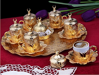 Набор чашек для кофе Золотой тюльпан на 6 персон