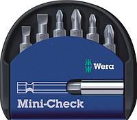 Wera биты (набор бит ) с магнитным держателем в, комплекте mini-check набор 6шт.