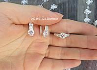 Стильный серебряный набор серьги и кольцо