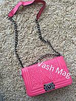 Женский брендовый клатч Chanel (Шанель) 2016 розовый
