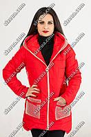 Женская весенняя куртка красного цвета с капюшоном Юлианна