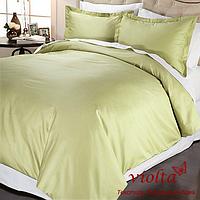 Комплект постельного белья, полуторный, сатин, оливковый, однотонный