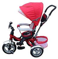 Детский трехколесный велосипед-коляска Maxi Trike красный, надувные колеса