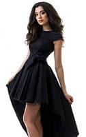 Красивое вечернее женское  платье с пышной асимметричной юбкой на подкладке из фатина жаккард