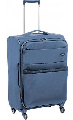 Качественный четырехколесный чемодан тканевый 90/100 л., Roncato Venice 5172/86 голубой
