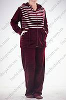 Женский спортивный костюм  бордовый с белыми полосками