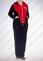 Женский батальный спортивный костюм с красными вставками