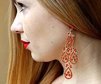Серьги женские люстры Фрея красные , сережки женские