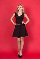 Женское красивое весеннее платье с поясом без рукавов трикотаж p.44,46,48,50