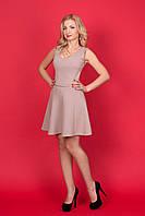 Женское бежевое платье с поясом без рукавов трикотаж p.44,46,48,50