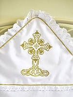 Елитная крыжма для крещения с большим золотым крестиком