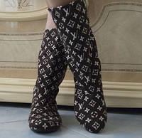 Модные принтованные женские сапожки продублированный коттон