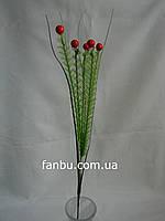 Искусственный куст аспарагуса с 5 красными ягодами и травой