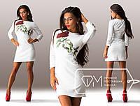 Красивое короткое белое платье Роза . Арт-3265/23