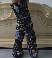 Яркие женские сапожки с модным принтом коттон