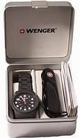 Превосходный набор часы и нож Wenger Swiss Watch + Swiss Army Folding Knife 01 441 102 черный