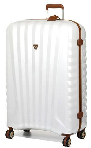 Превосходный пластиковый чемодан-гигант 113 л. Roncato UNO ZIP Deluxe 5211/04/60 белый с бежевым
