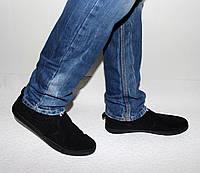 Мужские мокасины черные без шнурков