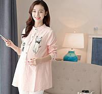 Модная, воздушная рубашка для беременных и кормящих