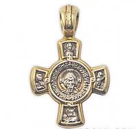 Серебряный Крест Икона Ладанка Спас Оплечный и Касперовская Божья Матерь 7767