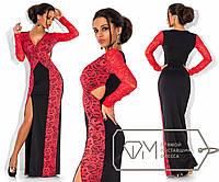 Красивое вечернее черное длинное платье с разрезом, и коралловыми гипюровыми вставками  . Арт-3292/23