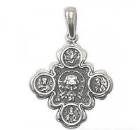 Серебряный Федоровский Крест Иисус и Казанская Божья Матерь с позолотой 7769