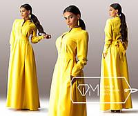 Желтое длинное платье с пуговицами на груди. Арт-3295/23