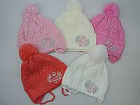Весенняя шапка на завязках для девочки