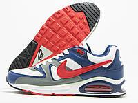 Кроссовки мужские Nike Air Max белые с синим/серым, три баллона (найк аир макс)