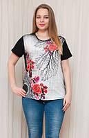Женская футболка прямого кроя с розой, фото 1