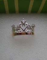 Кольцо Корона серебро с золотом