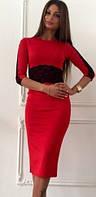 Коктейльное красное платье с кружевными вставками (арт. 234935571)