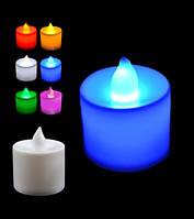 Свеча декоративная, голубая, в комплекте с батарейками.