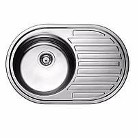 Мойка кухонная 0,8мм нержавейка с комплектом ULA-770*500  врезная (Decor-Ребристая) (HB 7108 ZS)