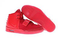 Женские высокие кроссовки Nike Air Yeezy 2 (найк изи 2) красные