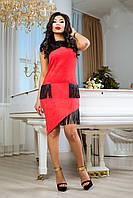 Невероятно Красивое Платье из Стрейч Замша с Бахромой Коралловое S-XL