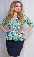 Красивое женское платье-баска с цветочным принтом рукав три четверти дайвинг батал