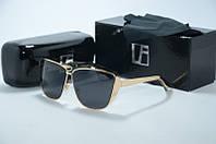 Солнцезащитные очки Linda Farrow черные с золотой оправой