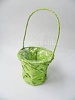 Корзина декоративна з рафії салатова