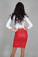 Прямая юбка из эко-кожи