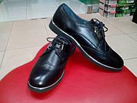 Стильные кожаные туфли на низком ходу МИДА 21385(1) черные.