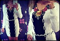 """Платье женское вязаное теплое с поясом """"Украинка"""""""