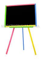 Мольберт двусторонний магнитный разноцветный (мел, губка)