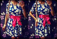 """Платье женское короткое из масла с поясом """"Зефир"""""""