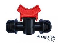 Кран с наружными резьбами для пластиковой трубы КСН 16*1/2*3/4(SL-011-14)